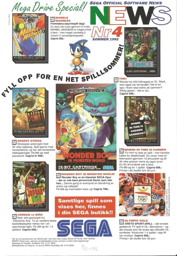 SEGA Official Software News nr. 4 – 1992